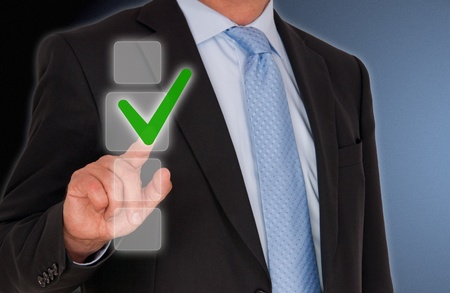 Businessman with Checkbox Stock Photo - 19056700