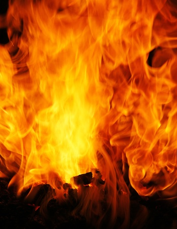 close up chimney: The burning Fire Stock Photo