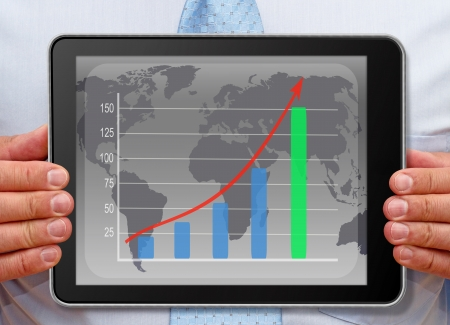 businessplan: Businessman with Chart on Tablet PC