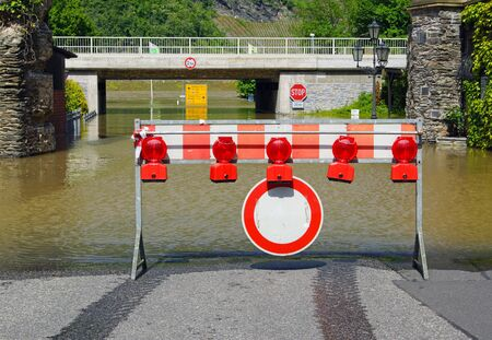 FLOODING: Flood - Road closed at the Rhine River - Germany