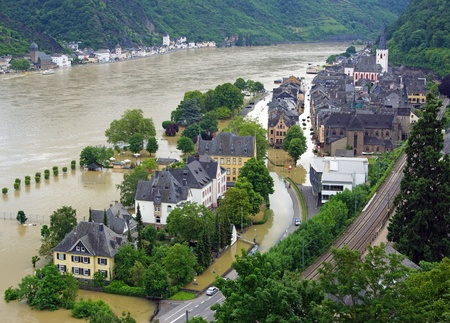 the flood tide: Flood at the Rhine River - Germany