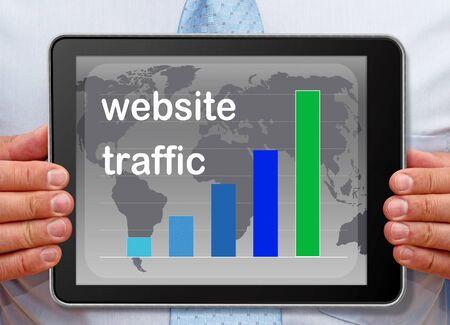 website traffic: Website Traffic Chart on Tablet PC