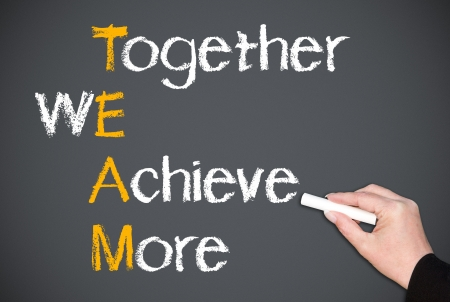 achieve goal: Together We Achieve More Stock Photo