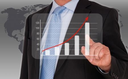 Man with performance uptake chart photo