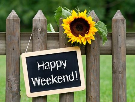 working week: Happy Weekend Stock Photo