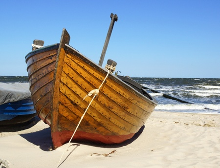 water transportation: Boat at the Sea Stock Photo