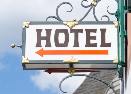 overnight stay: Hotel Sign Stock Photo