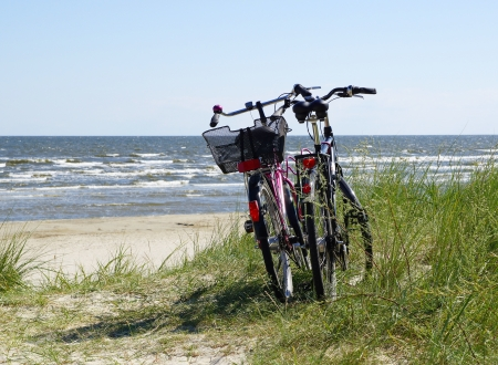 parked bicycles: Bikes at the Beach