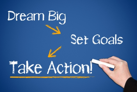 doelen: Grote droom - Stel doelen - Take Action Stockfoto