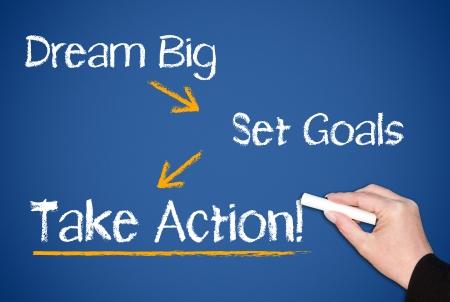 Grote droom - Stel doelen - Take Action Stockfoto