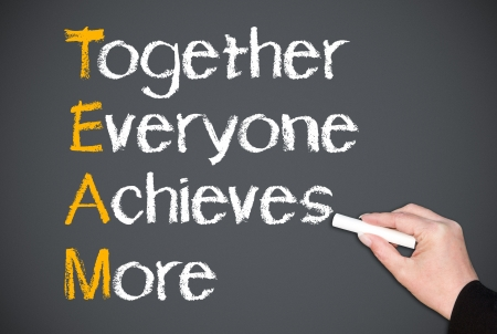 achieves: Together Everyone Achieves More - Team Concept Stock Photo