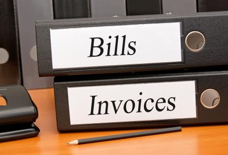 registros contables: Cuentas y facturas Foto de archivo
