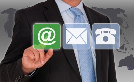business support: Neem contact met ons per email Stockfoto