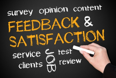 online survey: Feedback and Satisfaction Stock Photo