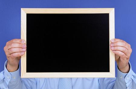 Man with Chalkboard photo