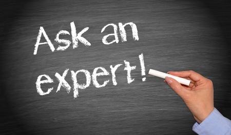 Vraag een expert Stockfoto