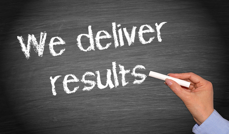 we: We deliver results Stock Photo