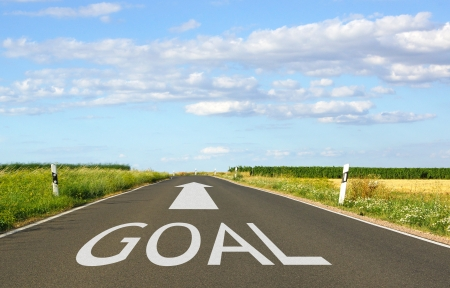 setting goals: Goal Concept with Arrow on Street