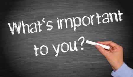 Wat is belangrijk voor u Stockfoto