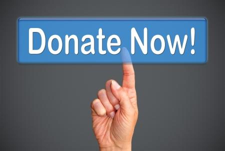 non cash: Donate Now Stock Photo