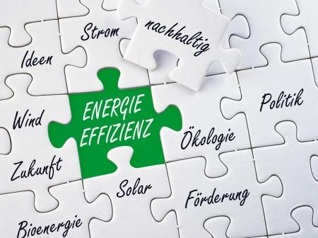 energy management: Energy Efficiency - German Language Stock Photo