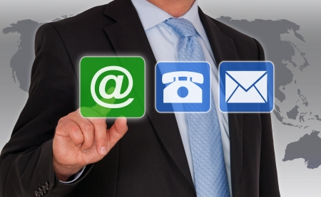 iconos contacto: Opciones de contacto Foto de archivo