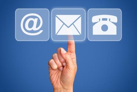 hotline: Opties voor contactpersonen - Business Concept Stockfoto