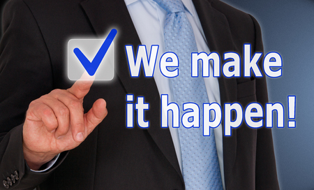 professional people: We make it happen Stock Photo