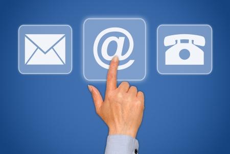Neem contact met ons - blauw touchscreen