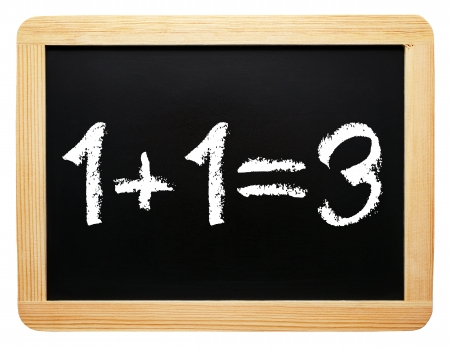 sign equals: 1 plus 1 = 3 - Synergy Concept Stock Photo