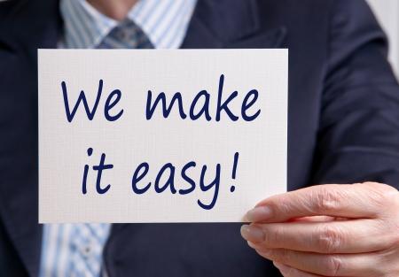 Wij maken het eenvoudig Stockfoto