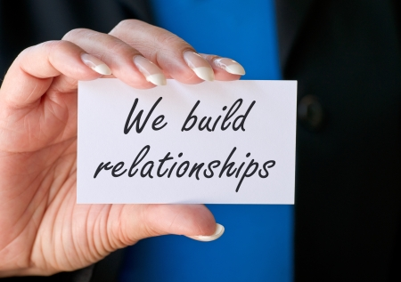 customer care: We build relationships Stock Photo