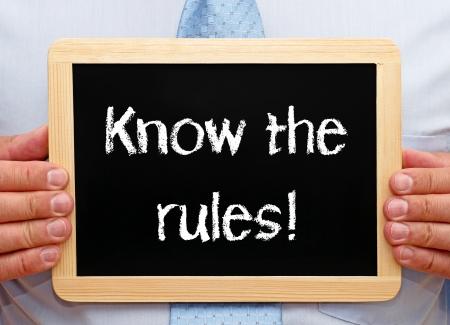 ley: Conozca las reglas Foto de archivo