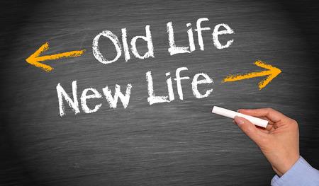 昔の生活と新しい生活 写真素材