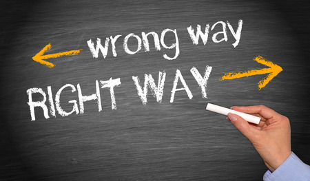 mistake: Wrong way and right way Stock Photo