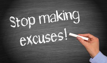pardon: Stop making excuses Stock Photo