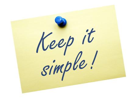 Houd het simpel