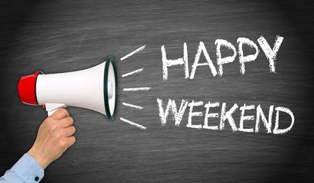 weekend: Happy Weekend text on chalkboard Stock Photo