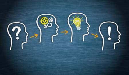 inspiracion: Iconos de soluciones en la pizarra - Problema - Análisis - Idea