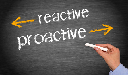reactive and proactive - business concept Stock Photo