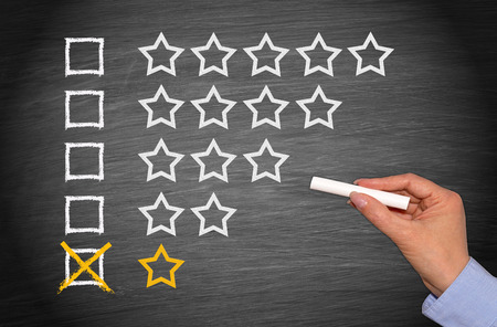 hotel reviews: One Star only - Low Performance Stock Photo