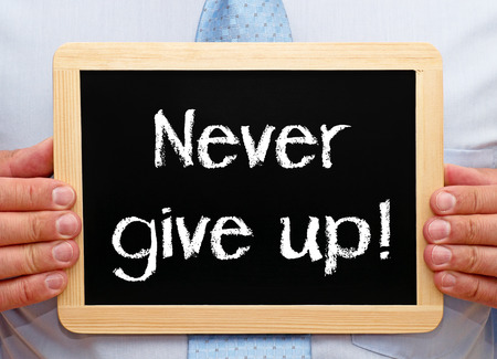 black empowerment: Never give up Stock Photo