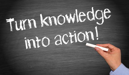 open minded: Turn knowledge into action   Stock Photo