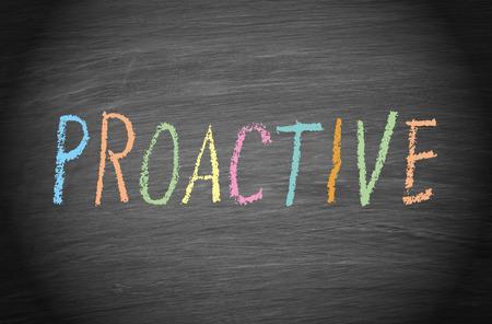 proactive: Proactive word on blackboard Stock Photo