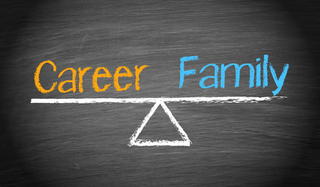 Career and Family on blackboard photo