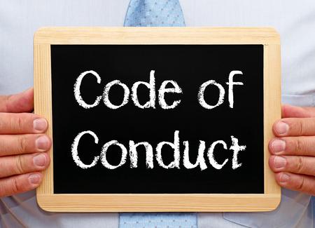 Code of Conduct on a blackboard