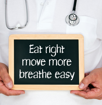 eat right: Eat right - move more - breathe easy Stock Photo