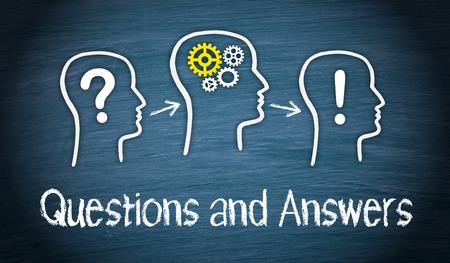 Vragen en antwoorden Stockfoto