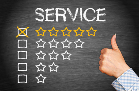 testimonial: Best Service - 5 Star Rating Stock Photo