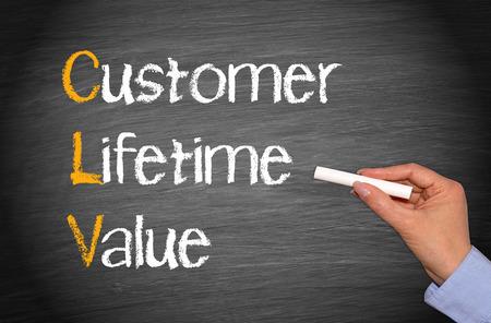 marketingplan: CLV - Customer Lifetime Value Stock Photo